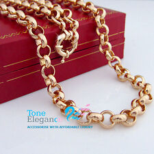 18k yellow gold filled  bolt ring clasp solid belcher chain long Necklace