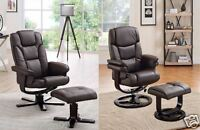 Reclining Chair with Footstool Office Chair Recliner Armchair Lounge Black Brown