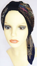 Turban style hat and scarf. Headwear for chemo hair loss.  Black & multi-colour