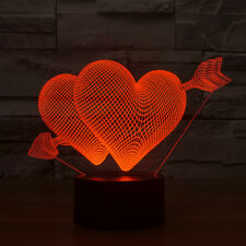 Love Heart Gift LED Night Light 7-Color Change Touch Switch Desk  3D Table Lamp