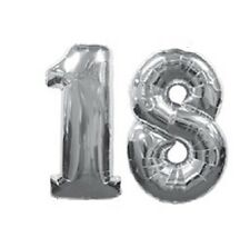 Number 18 Silver Balloons 18th Birthday Party Anniversary Foil Decoration Gift