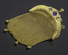 Vintage Victorian Coin Purse, 18K Yellow Gold, 2 RoseCut Diamonds and Sapphire