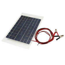 18V 10W Solar Charger Panel Portable Battery for Car W/Crocodile Clips