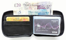 Leather zip around Purse wallet with coin pocket and note section BLACK New