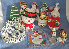 Vtg Lot of Christmas Snowmen Snowman Figurine Decor Ceramic Wood Inarco Dish