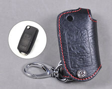 Genuine Leather Remote Key Chain Holder Case Cover Fob Fit For VW Jetta Passat