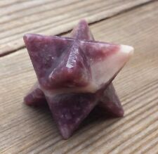 LARGE (50mm) LEPIDOLITE GEMSTONE MERKABA STAR (ONE) - BUY IT NOW
