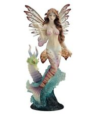 "11"" Lionfish Mermaid w/ Seahorse Dragon Statue Sculpture Mermaid Ocean Nautical"
