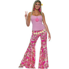 FEMALE HIPPY PINK FLOWER POWER BELL BOTTOM TROUSERS FANCY DRESS COSTUME