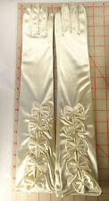 Pretty Stretch Satin Long Gloves Wedding Prom Opera Ivory With Bows