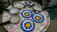 Metal Enamel Toy Pots And Pans Retro Dolls Metal Old Rare plates frying pans