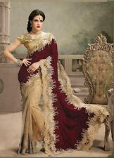 Indian Bollywood Women Saree Designer Pakistani Velvet & Net New Wedding Sari