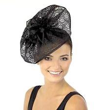 L@@K Ladies JENDI Lace Look BLACK Formal Spring Racing Derby Fascinator Headband