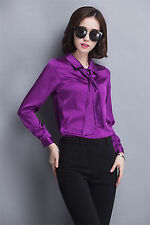 2016 Fashion Women Long Sleeve Business Silk Blend Shirt Tie Neck Blouse Tops