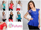 Women's Sexy Blouse with Lace Scoop Neck Party Vest Top Size 8-12 8039