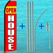 OPEN HOUSE SWOOPER FLAG + 15' TALL POLE KIT Flutter Feather Banner Sign 25-1978