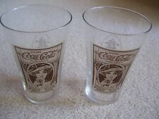 """TWO COCA COLA 5.5"""" FLAIR GLASS WITH TURN OF THE CENTURY GIRL"""