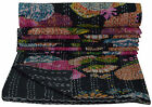 INDIAN KANTHA FLORAL QUILT TWIN SIZE BEDSPREAD BLANKET THROW Vintage Ethnic