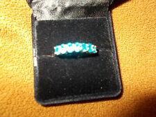 9 ky gold HALF ETERNITY RING electric blue of appatide QVC SIZE S USED HALL MARK