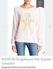WILDFOX Christmas Holiday Gingerbread Cookie Sweater Sweatshirt Sz Medium