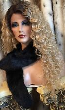 Long, Rooted, Human Hair Blend,Blonde, Lace Front, Curly, Heat Friendly Wig