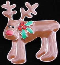 """HAPPY FUNNY GOOFY CUTE HOLLY CHRISTMAS RUDOLPH REINDEER PIN BROOCH JEWELRY 2.25"""""""