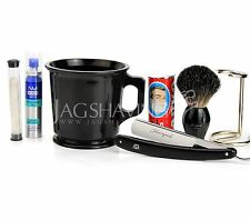 OLD STYLE SHAVING KIT WITH MUG SOAP RAZOR SOAP ALUM STICK PRE SHAVE OIL KIT