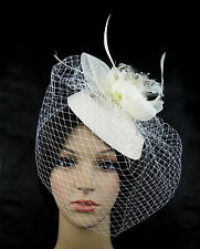 Racing Wedding Party Races Game Headpiece Veil Fascinator Hat Hair Clip Ivory