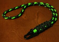 550 Paracord Neck Lanyard / ID Keychain  / Black & Green / HK Style Clip