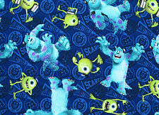 FAT QUARTER  DISNEY PIXAR FILM MONSTERS UNIVERSITY MIKE SULLY 100% COTTON FABRIC