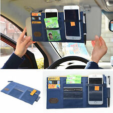 Car SUV Sun Shield Visor Board Organizer Blue Storage Holder Card Bag CD Pocket