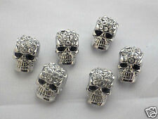 10 x Crystal Pave Zinc Alloy Skull Metal Beads With Rhinestones