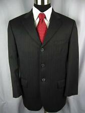 $895  ANDREW FEZZA Charcoal Black Striped 3 Button Wool Suit 42S  #E34