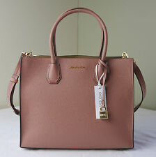 Michael Kors Antique Rose Pink Pebble Leather Mercer Large Convertible Tote