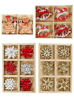 Wooden Hanging Christmas Tree Decorations Set Shapes Xmas Traditional Vintage