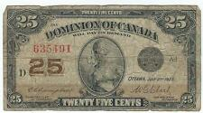 1923 CANADA 25 CENTS NOTE