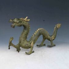 Chinese Bronze Gilt Handwork Carved Flying Dragon Statues X0281