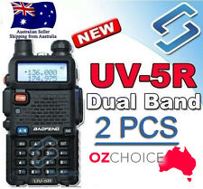 2x BF UV-5R UHF+VHF Walkie Talkie BAOFENG 5W 2-Way Radio Dual Band Standard Pack