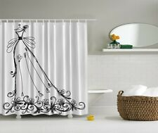 Chic Fashion Diva Black Dress Graphic Shower Curtain Glamour Floral Bath Decor