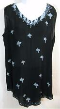 T308~Tienda Ho~BLACK/BLUE~Monsoon Tank~Pointed~REVERSIBLE~Embroidered~ROOMY~Free