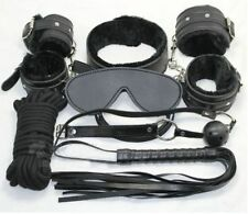 Black Fur Sexy Bondage Set - ball gag blindfold rope collar wrist cuffs whip kit