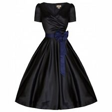 NEW VINTAGE 50'S STYLE BLACK SATIN GINA ROCKABILLY PARTY SWING DRESS SIZE 18