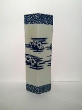 chinese blue and white hexagon Shape prunis flowered  Brush Pot  12 1/4 inches
