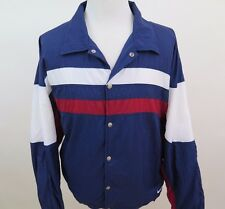 Vintage Nike Swoosh Nylon Blue White Red Lined Striped Coat Snap Front Jacket XL