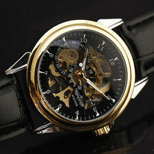 Winner 3D Logo Transparent Skeleton Dial Automatic Self-Winding Mens Watch A5