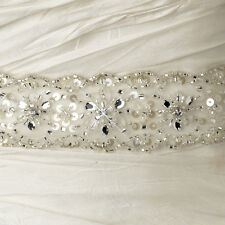 Ivory Beaded Rhinestone Sequined Bridal Belt Wedding Dress Ribbon Sash