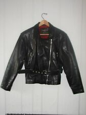 Vintage Oakwood Classic Womens Black Leather Motorcycle Jacket. FREE SHIPPING.