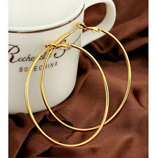 Retro Fashion Women Gold Silver Round Big Large Hoop Huggie Loop Dangle Earrings