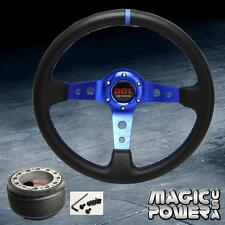 350mm Blue Deep Dish Steering Wheel & Hub Adapter Civil 96-04 EK Blue Stitching