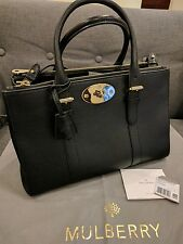 Auth Mulberry Small Bayswater Double Zip Tote Classic Grain $1,925